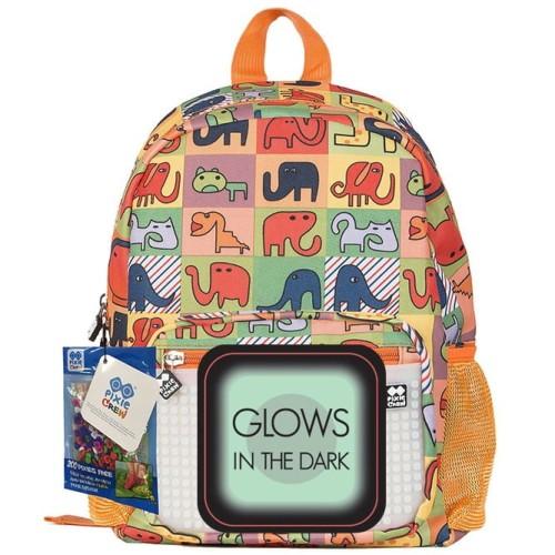 a45a10744b12c Plecak dla dzieci pomarańczowy w zwierzaki Pixie Crew z panelem do  ozdabiania świecącym w ciemności