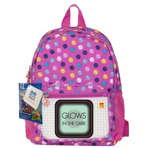 43c210a003b46 Plecak dla dzieci różowy w kropki Pixie Crew z panelem do ozdabiania  świecącym w ciemności